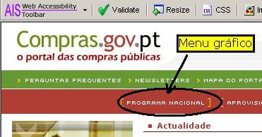 Portal das Compras Públicas: um exemplo de um menu feito com imagens