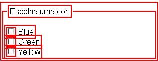 Exemplo de caixas de verificação