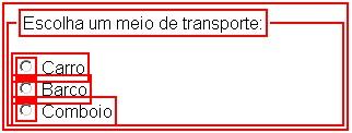 Exemplo de Botões de rádio